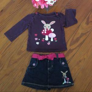 Crazy 8 Denim Skirt Set With Long Sleeve Shirt